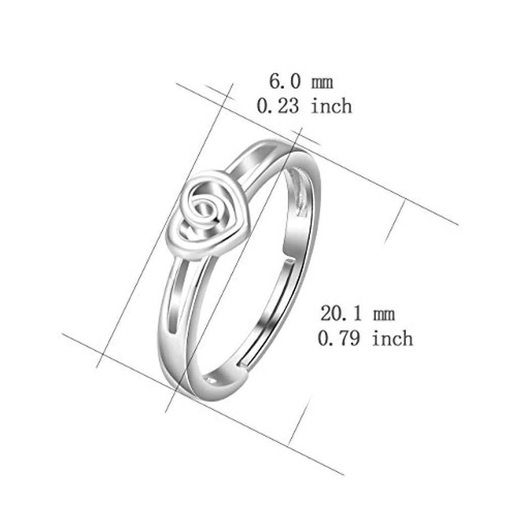 925 Sterling Silver Heart Promise Love Knot Ring Adjustable Jewelry for  Size 6 7 8