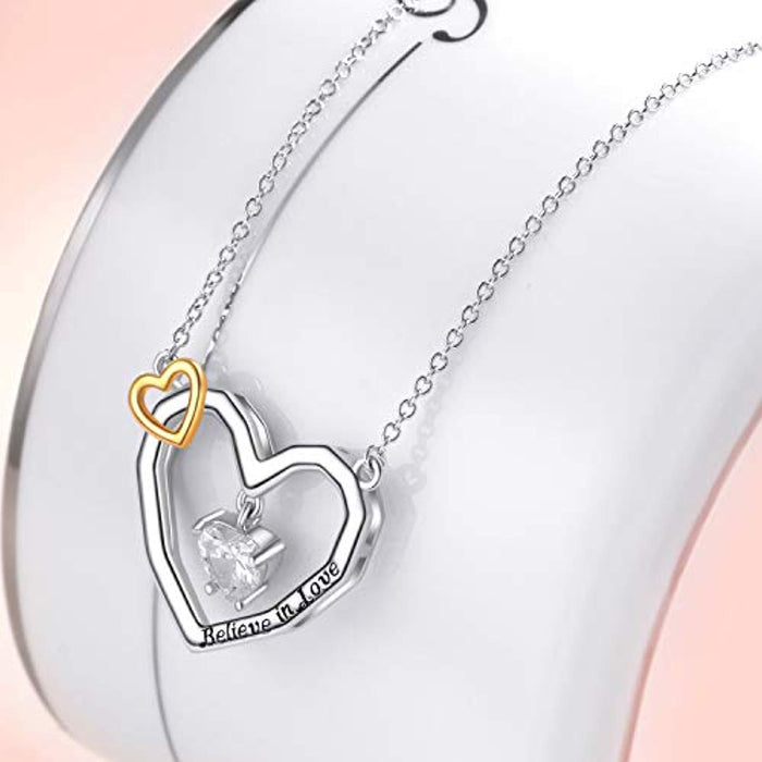 "925 Sterling Silver Heart Cubic Zirconial Pendant 18"" Necklace"