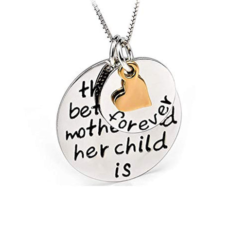 925 Sterling Silver Mom Child's Love Family Message Engraved Jewelry Heart Pendant Charm Necklace