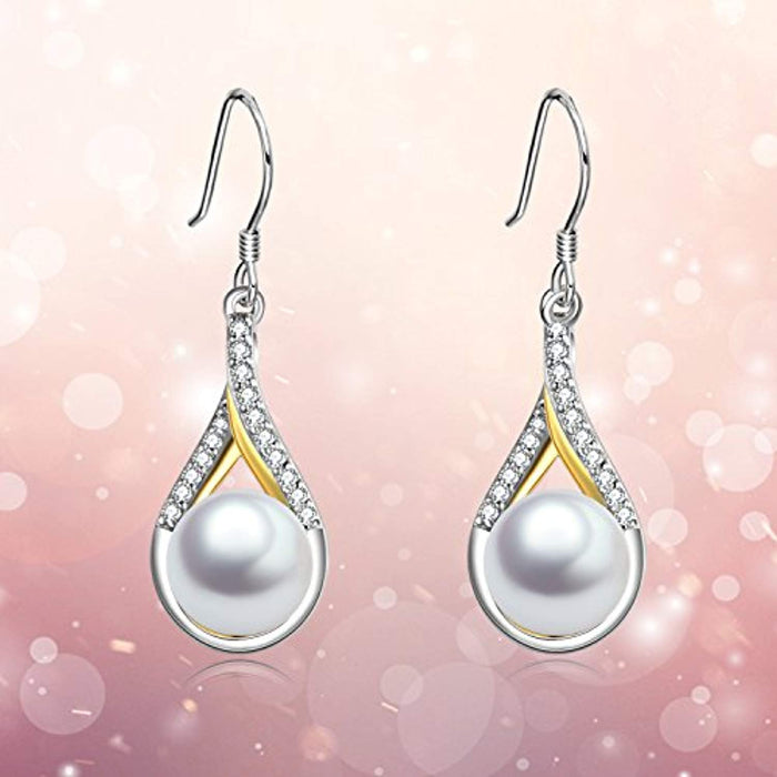 Infinity Earrings Sterling Silver Pearl Dangle Earrings