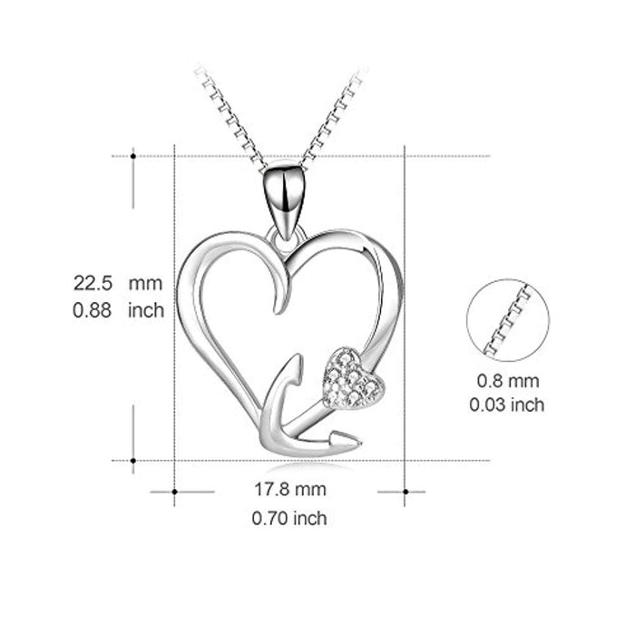 "925 Sterling Silver Eternal Love Heart Ship Anchor Pendant 18"" Necklace"
