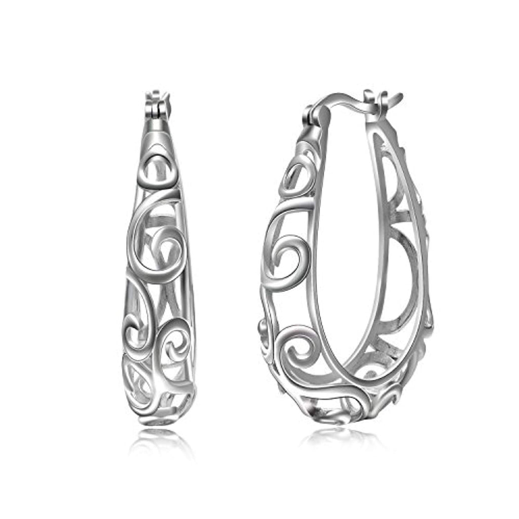 Filigree Hoops Earrings 925 Sterling Silver Hoop Earrings for Women