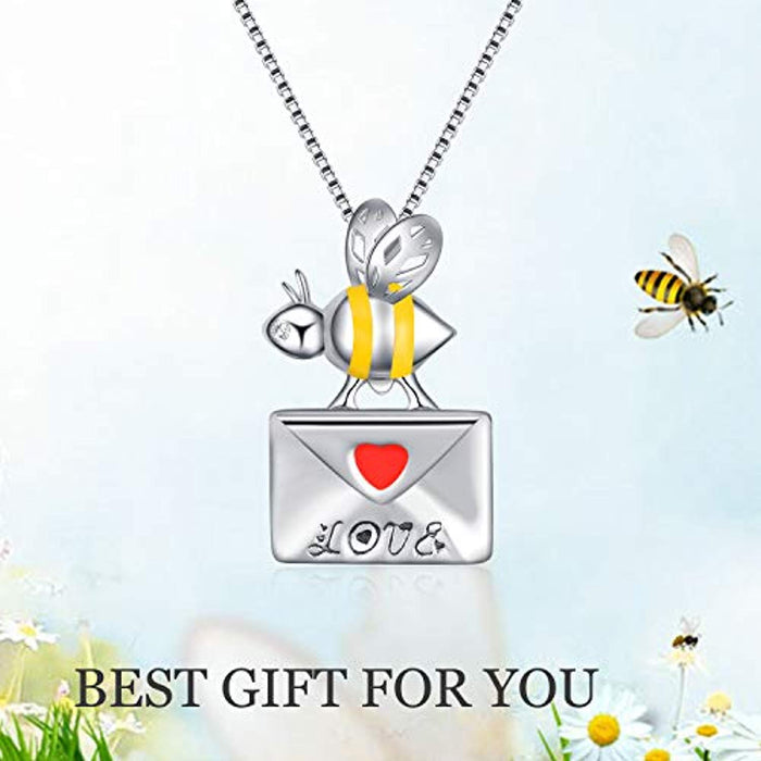Bee Necklace Sterling Silver Bumble Bee Queen Bee Bumblebee Honeycomb Pendant Necklace