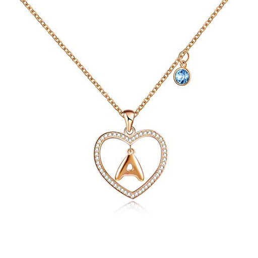 Letter Series Necklace Love Heart Alphabet Pendant with Swarovski Crystal,Fine Jewelry Gift for Women Girls