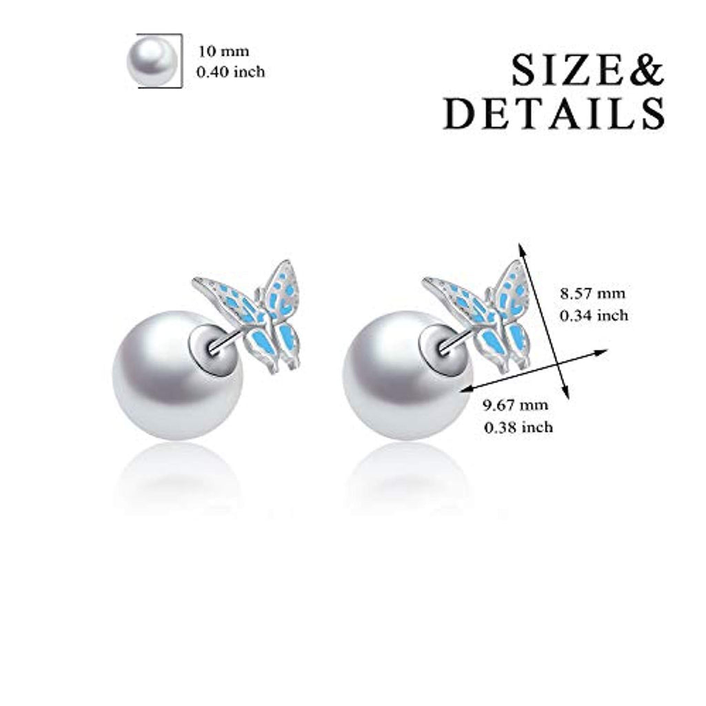 Butterfly Earrings Sterling Silver Pearl Double Sided Balls Stud Earrings