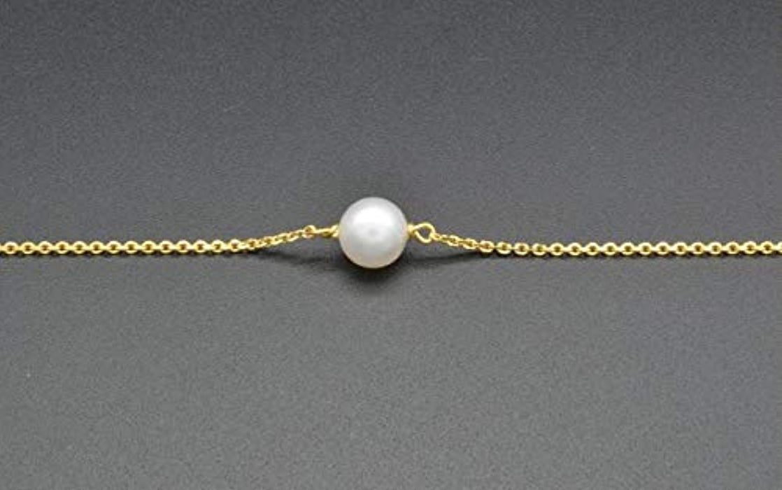 Sterling Sliver Freshwater Cultured Single Pearl Adjustable Chain Bracelets Wedding Bridesmaids Jewelry
