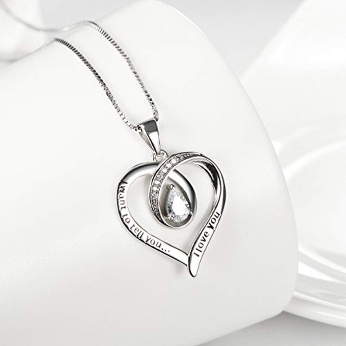 "Love You Heart Pendant Necklace Sterling Silver with Pear Shape Cubic Zirconial 18"" Jewelry"