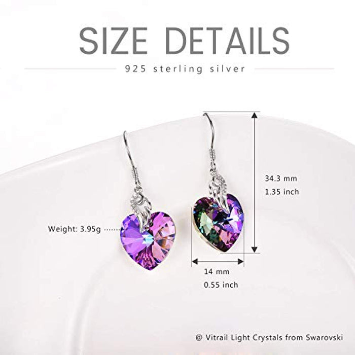 Sterling Silver Love Heart Dangle Drop Earrings with Purple Swarovski Crystals