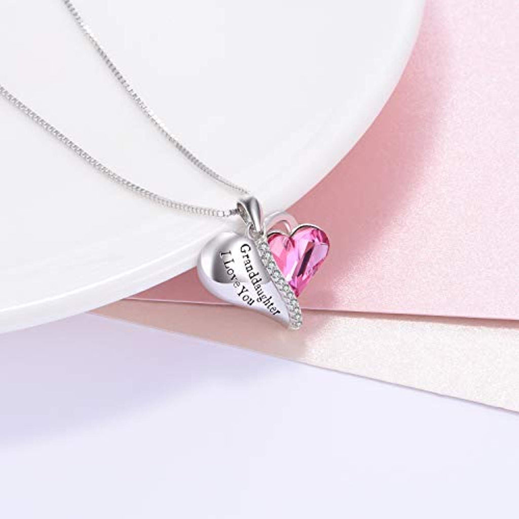 Granddaughter Grandmother Gifts - Granddaughter I Love You - Sterling Silver Heart Necklaces with Pink Swarovski Crystals