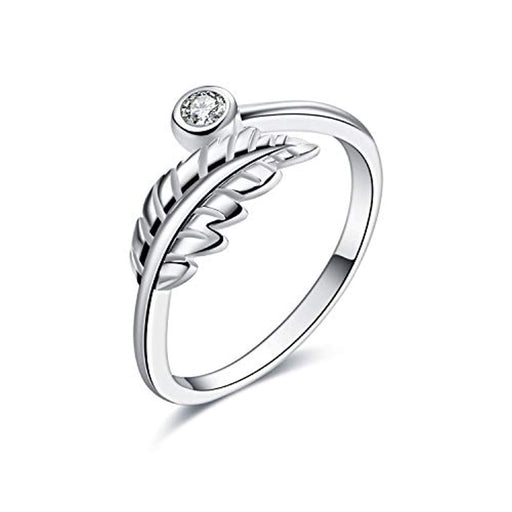 Sterling Silver Leaves Leaf Adjustable Ring for Women Size 7-8