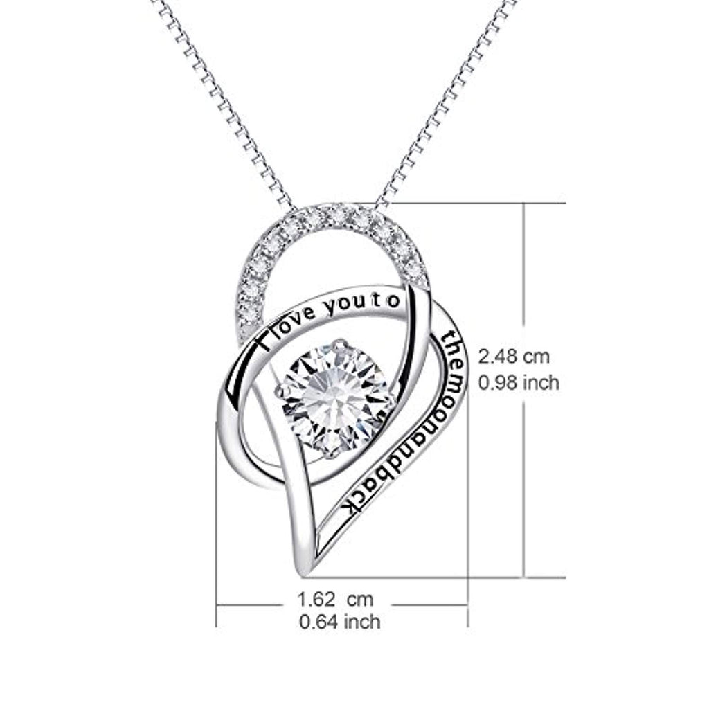 Sterling Silver I Love You to The Moon and Back Love Heart Pendant Necklace 18