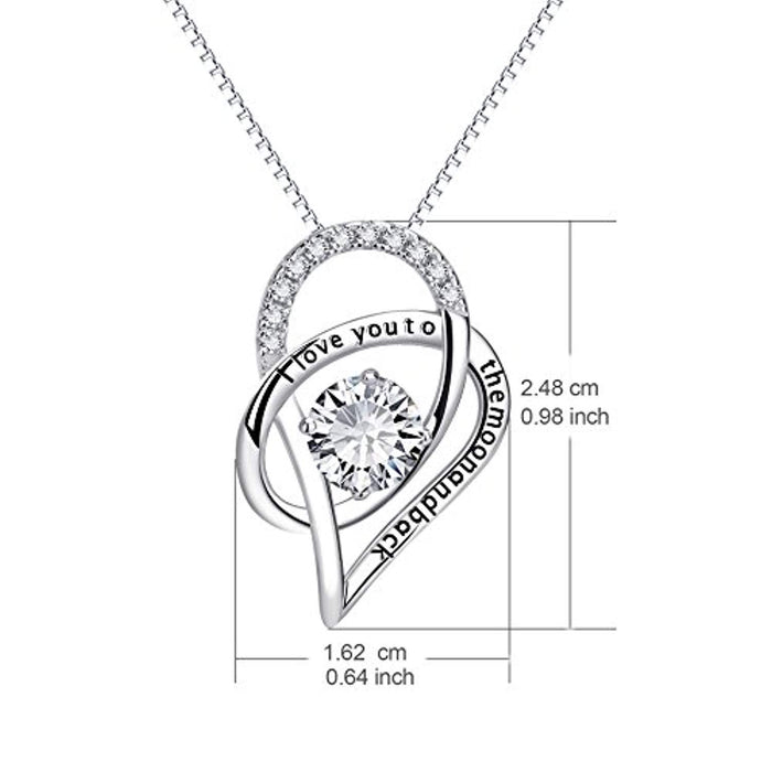 "Sterling Silver I Love You to The Moon and Back Love Heart Pendant Necklace 18"" (Heart Necklace)"