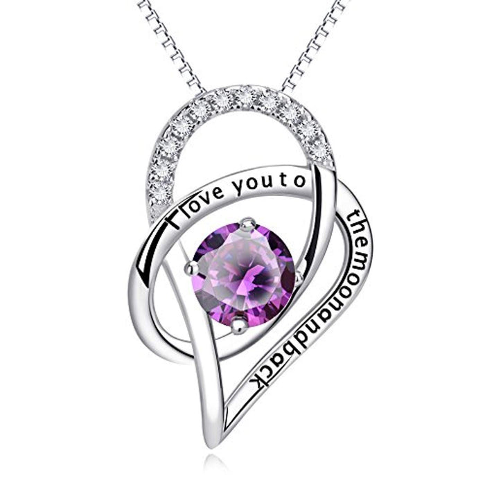 "Sterling Silver I Love You to The Moon and Back Love Heart Pendant Necklace Valentine Day Jewelry 18"" for Girlfriend Wife Women (Purple CZ Heart)"