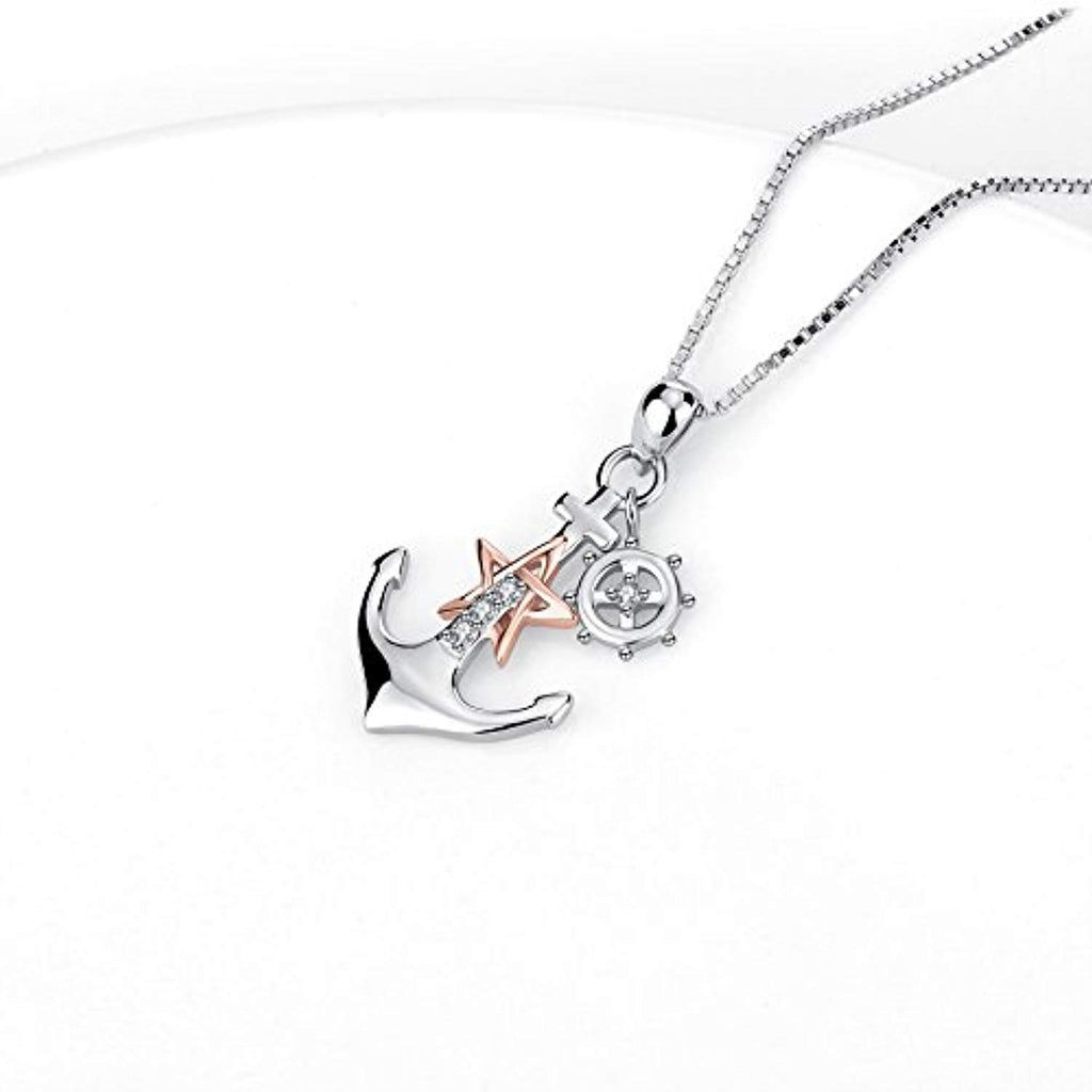 925 Sterling Silver Two-Tone Ship Anchor Rudder Pendant Necklace for Women Girls