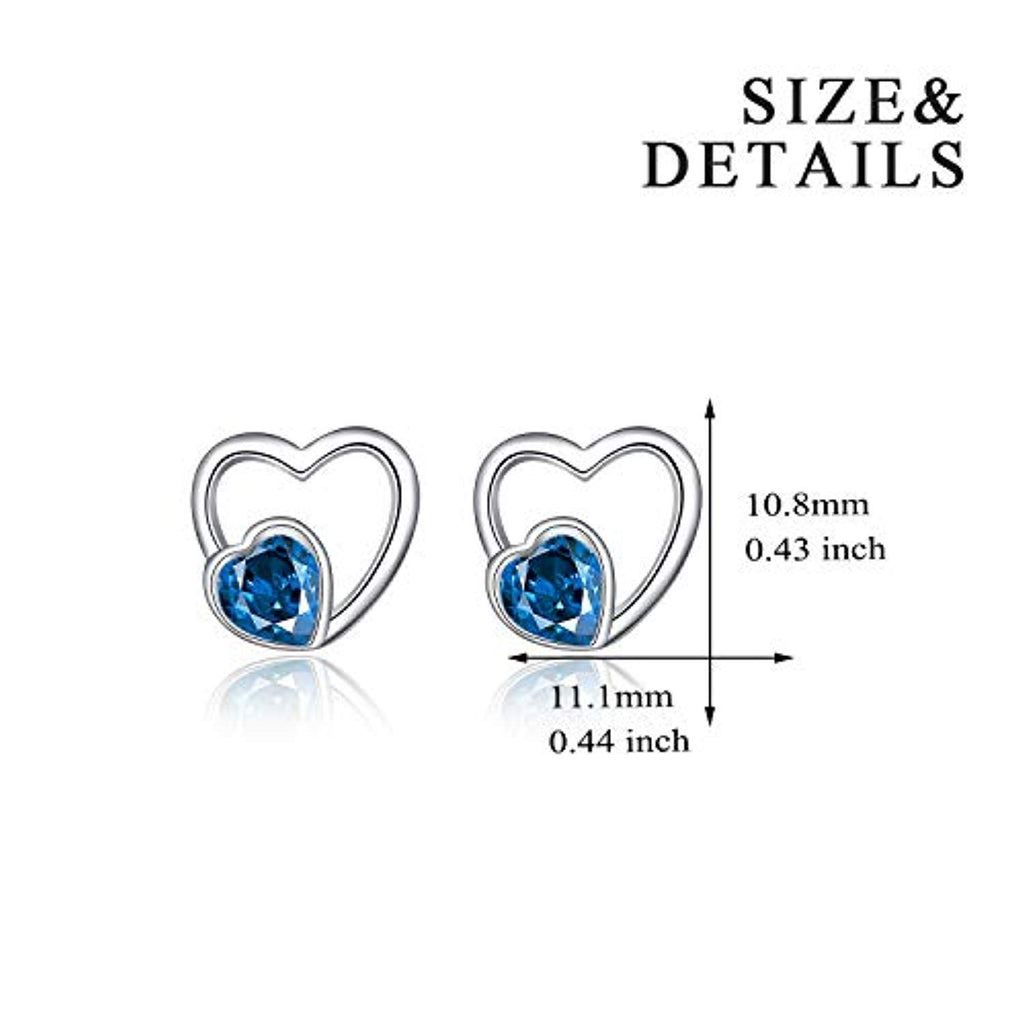 925 Sterling Silver Filigree Hollow Heart Ear Stud with Blue Cubic Zirconial Valentine Jewelry