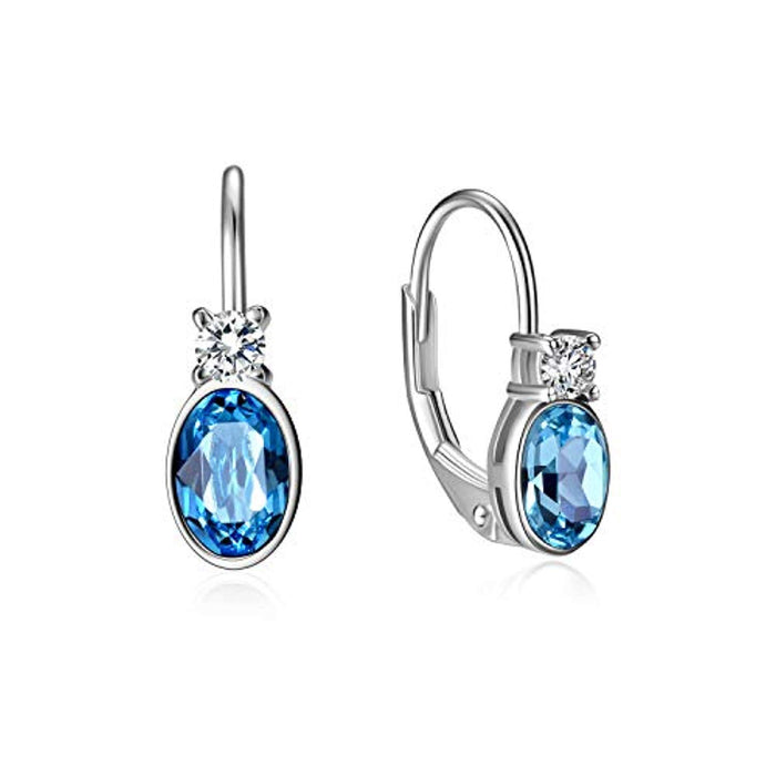 Aquamarine Blue Crystal Sterling Silver Earrings