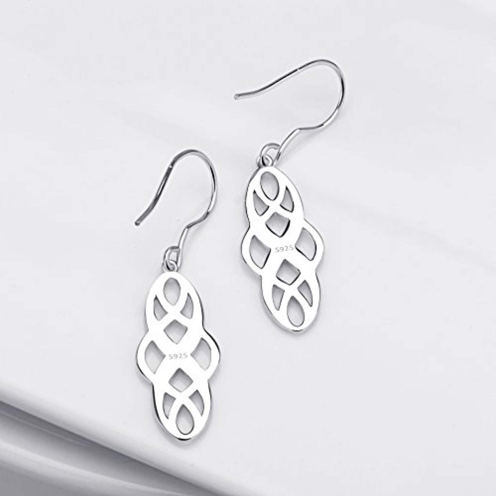 Silver Celtic Knot Dangle Earrings Sterling Silver Polished Good Luck IrishVintage Dangle Earrings Jewelry