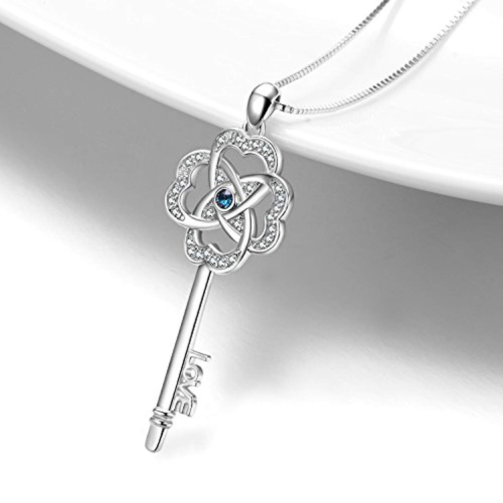 Key Pendant Necklace Lucky Clover Key-to-Love Jewelry with Crystal Crystals for Her Women