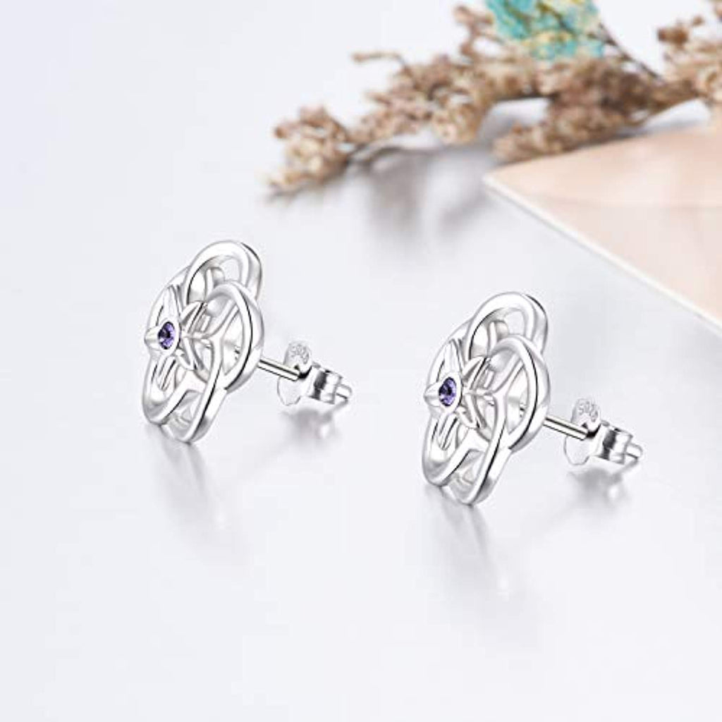925 Sterling Silver Flower Earrings with Purple Cubic Zirconial Mother Day Earring Jewelry Gift for Mom Women Teen Girl