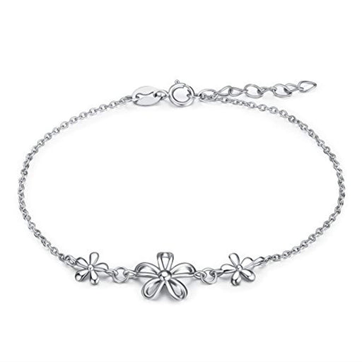 Sterling Silver Daisy Flower Adjustable Bracelet for Girls