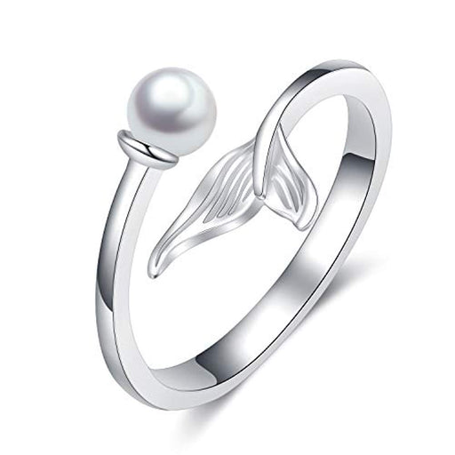 Sterling Silver Ocean Mermaid Rings for Women Teens Girls,Fish Tail Finger Adjustable Rings
