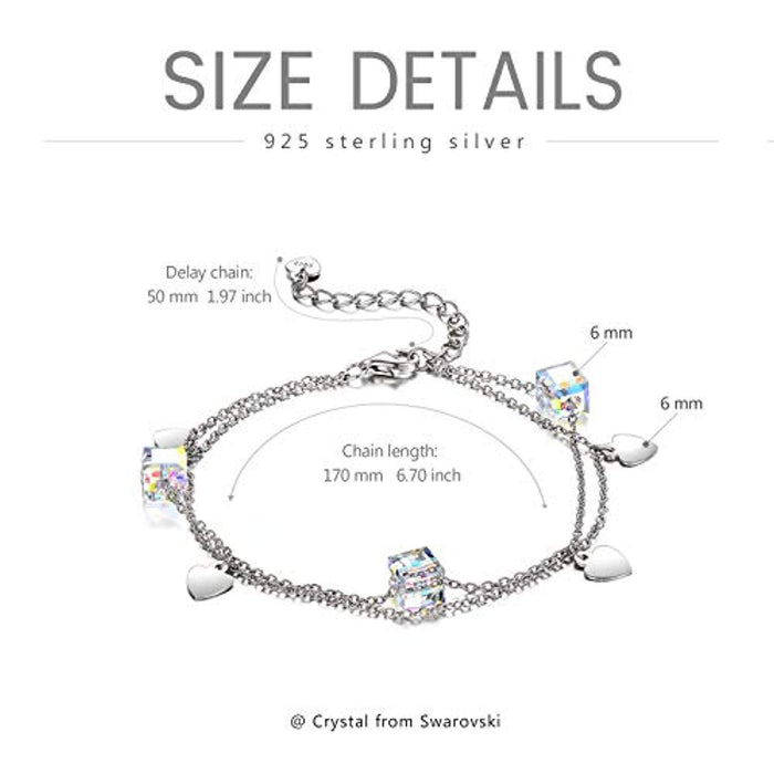 Love Heart Swarovski Charms Adjustable Link Bracelet