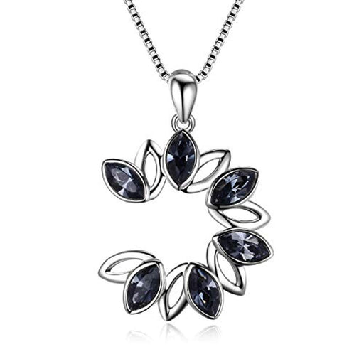 Round Necklace Two Tone Leaf Swarovski Crystal Flower Necklace Open Circle Pendant,Elegant Jewelry Gift for Women Girls