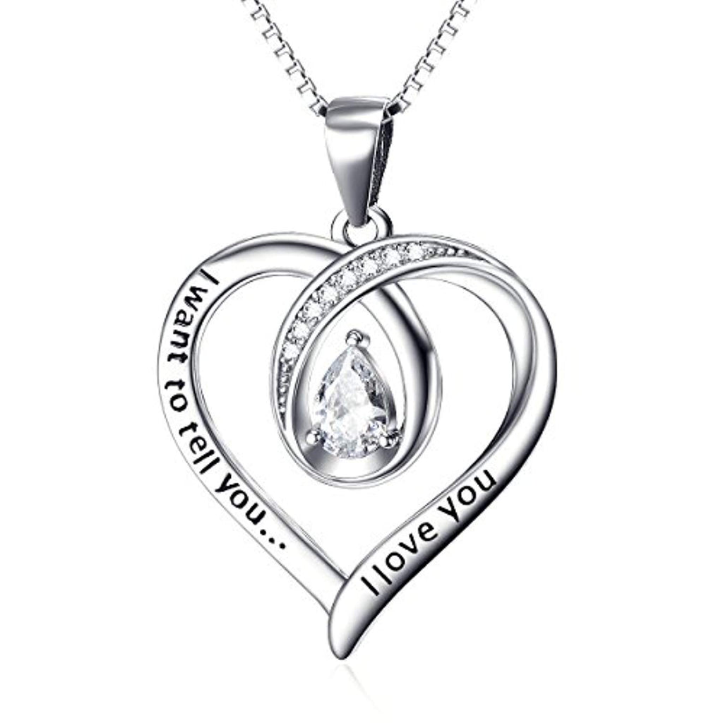 Love You Heart Pendant Necklace Sterling Silver with Pear Shape Cubic Zirconial 18