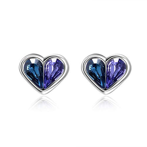 Heart Stud Earrings with Blue Purple Teardrop Crystals from Swarovski,Hypoallergenic Small Earrings