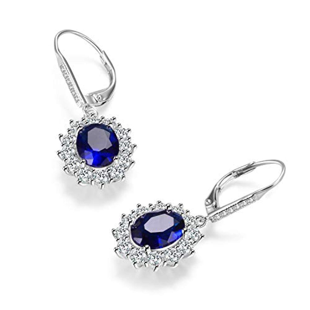 925 Sterling Silver Blue Cubic Zircon Leverback Dangle Drop Earrings