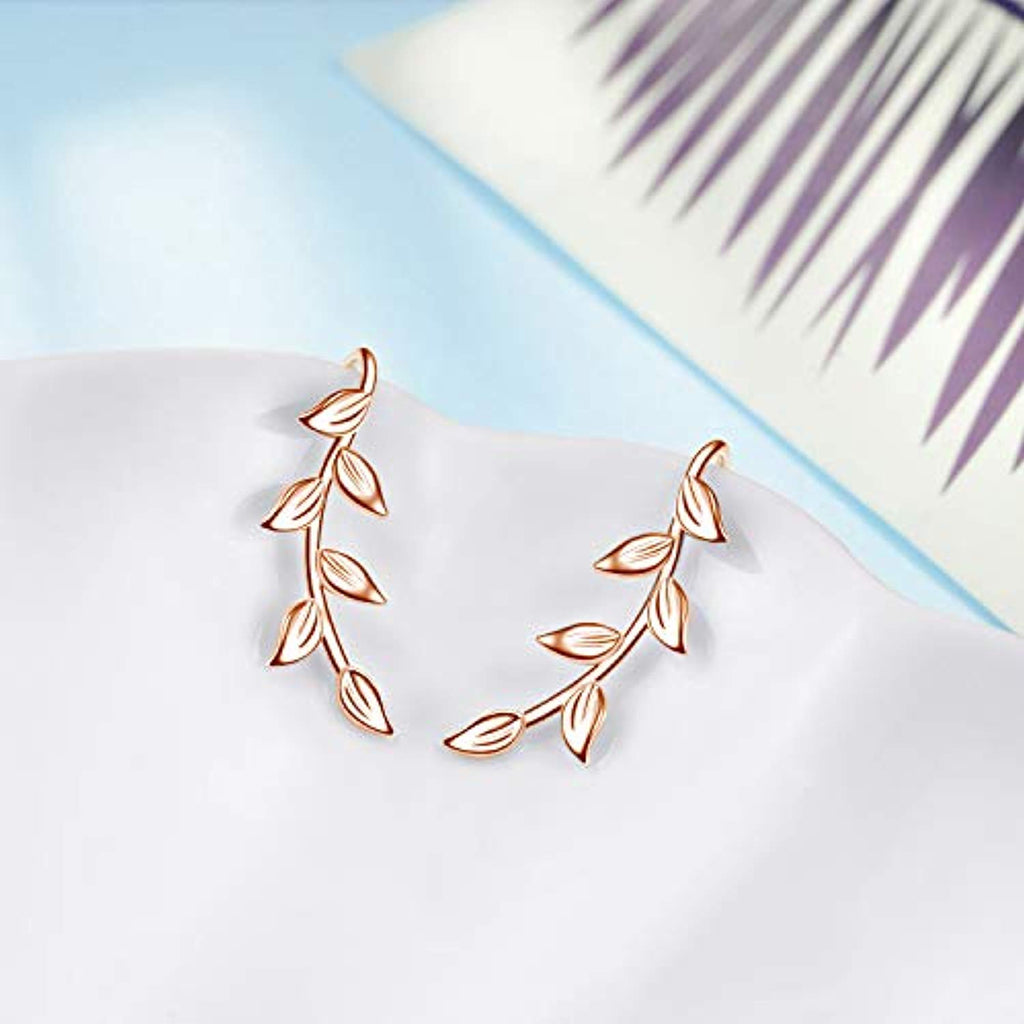 Sterling Silver Rose Gold Plated Leaf Ear Climber Crawler Earrings