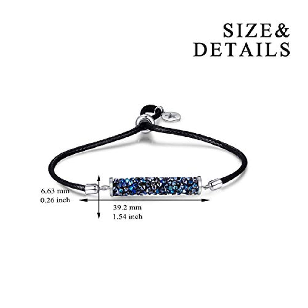 Strand Bolo Bracelet Adjustable Crystaldust Bracelet with Crystal Crystal Tube