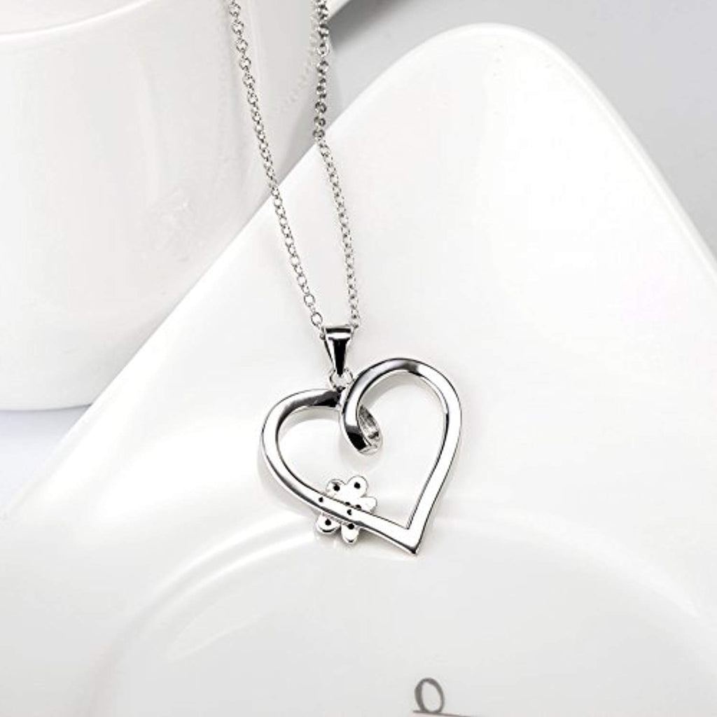 925 Sterling Silver Paw Print Heart Pendant 18