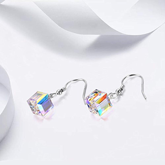 Cube Crystal Earrings with Swarovski Crystals Jewelry