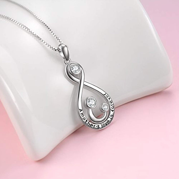 Mother and Child Infinity Love A Mother's Love is Forever Sterling Silver Pendant Necklace,18''