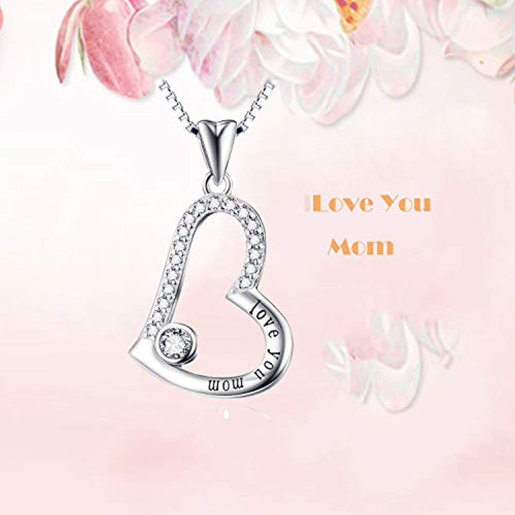 Sterling Silver Love You Mom Love Heart Pendant Necklace 18