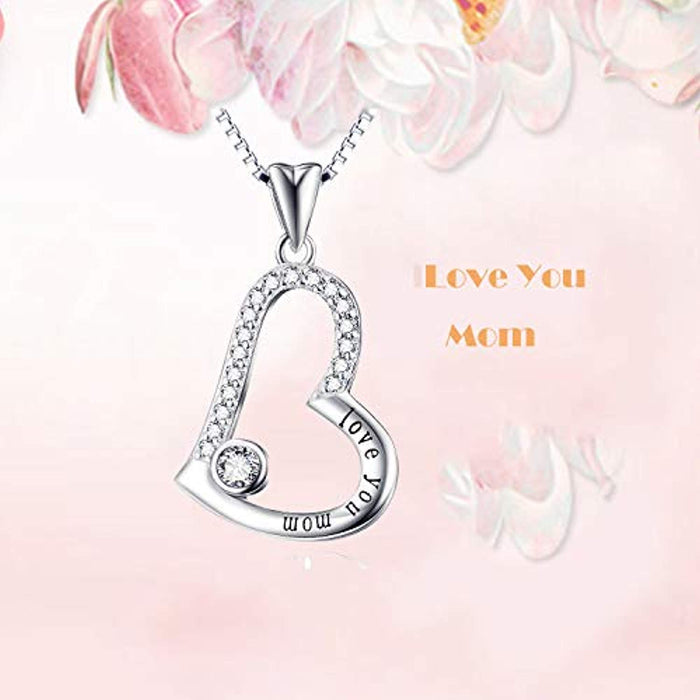 Sterling Silver Love You Mom Love Heart Pendant Necklace 18""