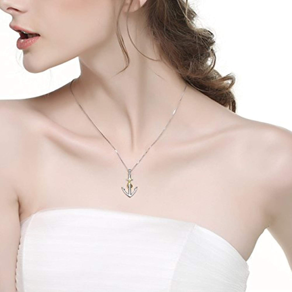 Nautical-Themes Jewelry 925 Sterling Silver Two-Tone Ship Anchor Pendant Necklace for Women 18