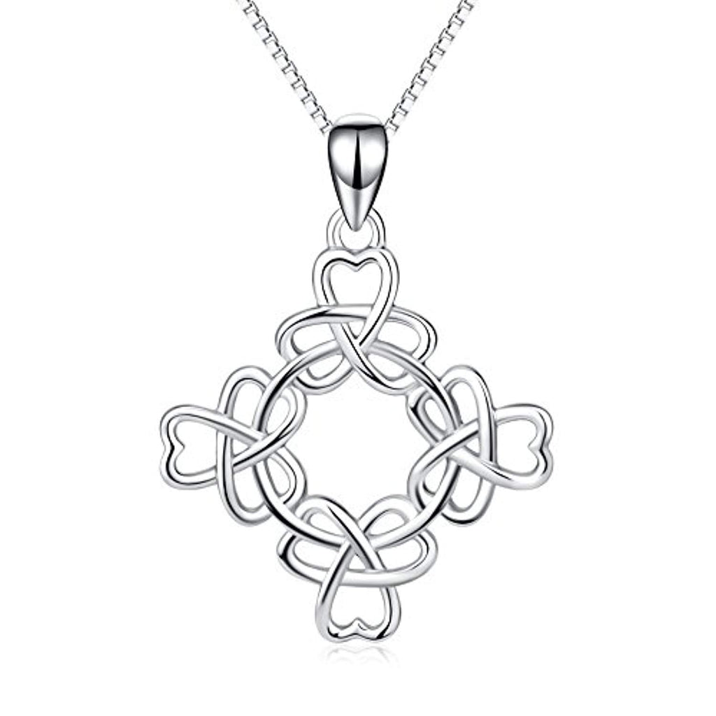 925 Stering Silver Good Luck Irish Triquetra Celtic Knot Pendant Heart Women Necklace 18