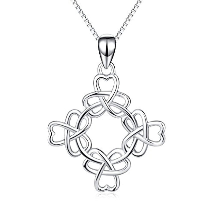 925 Stering Silver Good Luck Irish Triquetra Celtic Knot Pendant Heart Women Necklace 18""