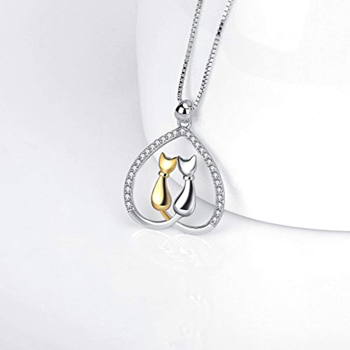 Jewelry 925 Sterling Silver Two-Tone Eternal Love Heart Pet Cat Pendant Necklace