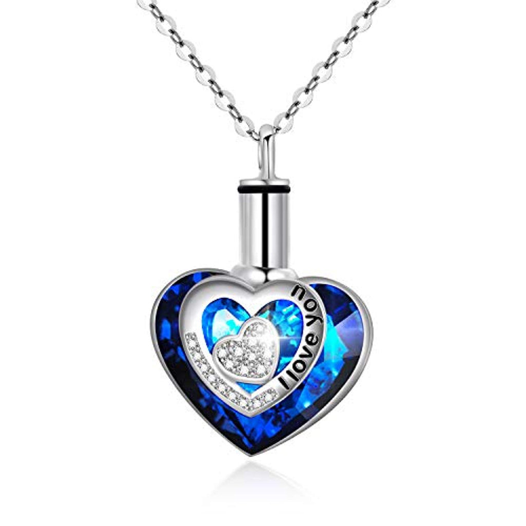 925 Sterling Silver Urn Necklaces for Ashes Engraved I Love You Pendant Cremation Necklace with Blue Heart Swarovski Crystals