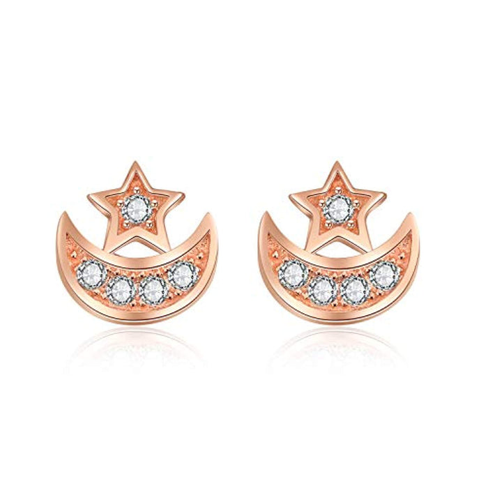 Rose Gold 925 Sterling Silver Stud Earrings Jewelry for Women(Cubic Zirconia Earrings)