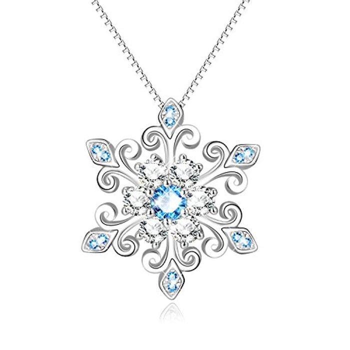 925 Sterling Silver Snowflake Pendant Necklace Blue and White Fleur De Lis, Romantic Jewelry