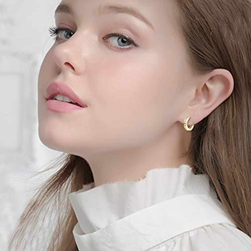 925 Sterling Silver Cubic Zircon Hoop Earrings Ear Cuff Cartilage