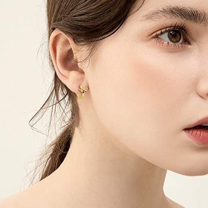 14k Gold Plated Hoop Cartilage Earrings Sterling Silver Bee Huggie Earrings for Women Girls Hypollergenic