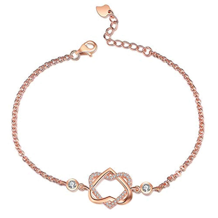 Rose Gold Plated Sterling Silver Infinity Love Heart Bracelet with Cubic Zircon