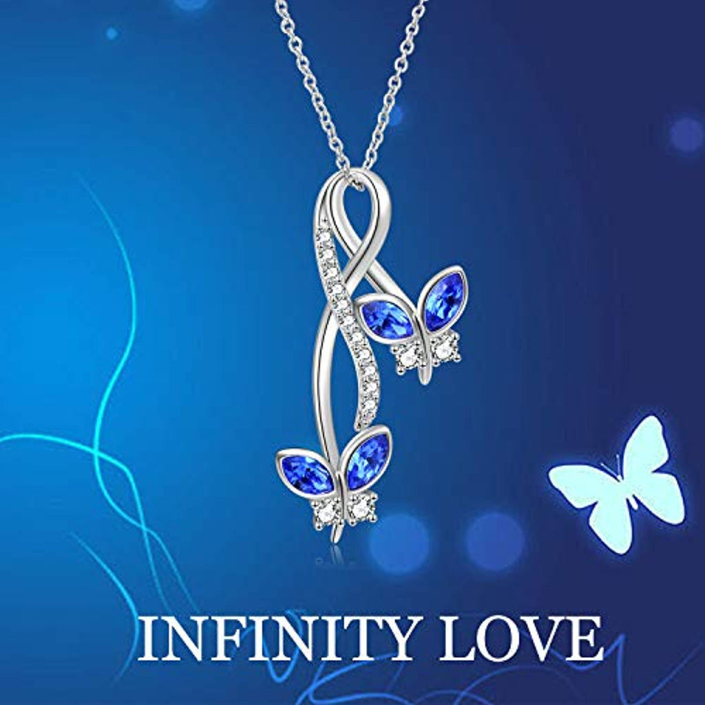 Butterfly Necklace Infinity Pendant with Blue Crystal Crystals,Butterfly Jewelry Gifts