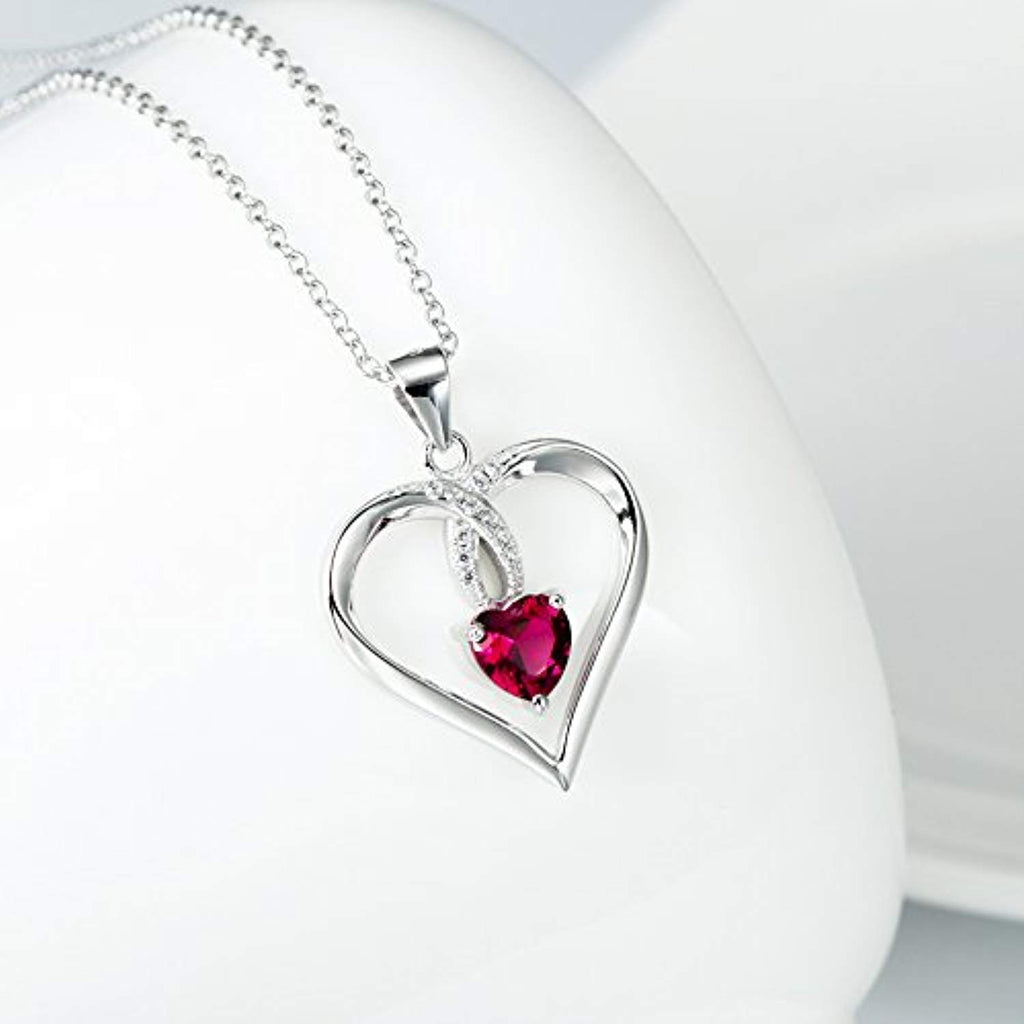 925 Sterling Silver Created Ruby Love Heart Pendant 18