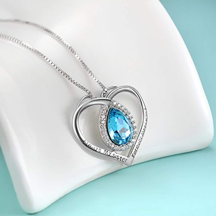 Sisters Necklace Sterling Silver Always My Sister Forever My Friend Love Heart Pendant Necklace